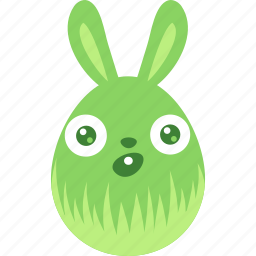 bunny, easter, egg, emoji, emotion, rabbit, surprised icon