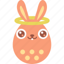 angel, bunny, easter, egg, emoji, good, halo icon