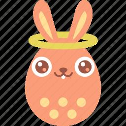 angel, bunny, easter, egg, emoji, good, halo icon