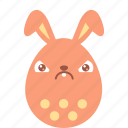 bunny, crabby, easter, egg, emoji, emotion, irritation icon