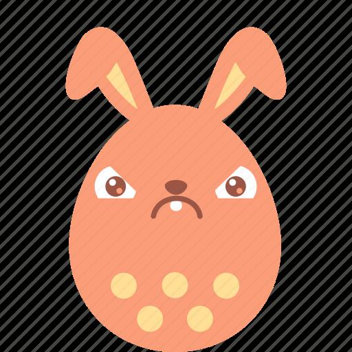 bunny, crabby, easter, egg, emoji, emotion, irritation icon