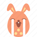 bunny, cry, easter, egg, emoji, emotion, sad icon