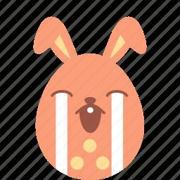 bunny, cry, easter, egg, emoji, emotion, sad icon