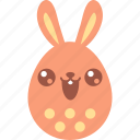 bunny, cute, easter, egg, emoji, emotion, smile icon