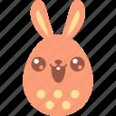 bunny, cute, easter, egg, emoji, emotion, smile