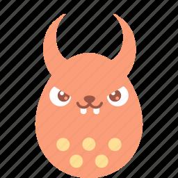 bad, bunny, demon, easter, egg, emoji, emotion icon