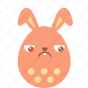bunny, easter, egg, emoji, emotion, guilty, sad icon