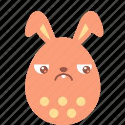 bunny, easter, egg, emoji, emotion, guilty, sad icon