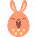 bunny, easter, egg, emoji, emotion, happy, smile icon
