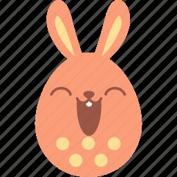 bunny, easter, egg, emoji, emotion, happy, smile icon