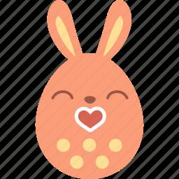 bunny, easter, egg, emoji, emotion, kiss, love icon