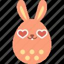 bunny, easter, egg, emoji, emotion, heart, love
