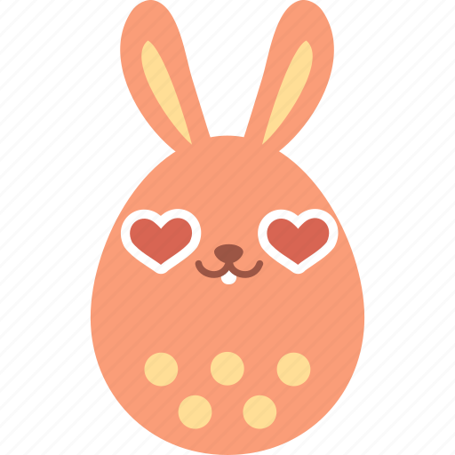 bunny, easter, egg, emoji, emotion, heart, love icon
