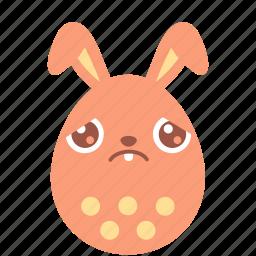 bunny, easter, egg, emoji, emotion, rabbit, sad icon