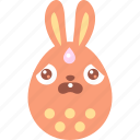 afraid, bunny, easter, egg, emoji, emotion, scared icon