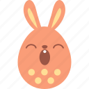 bunny, easter, egg, emoki, emotion, rabbit, sleepy icon