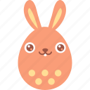 bunny, easter, egg, emoji, emotion, rabbit, smile icon