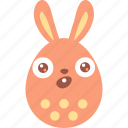 bunny, easter, egg, emoji, emotion, surprised, wonder icon