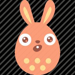 bunny, easter, egg, emoji, emotion, surprised, wonder icon
