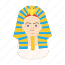 cartoon, culture, egypt, egyptian, mask, pharaoh, tutankhamun icon