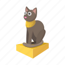 animal, cartoon, cat, egypt, grey, necklace, statue icon