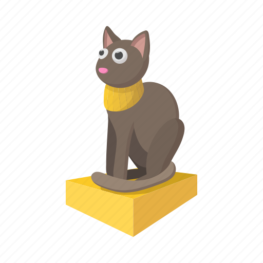 animal, cartoon, cat, egypt, grey, necklace, statue icon