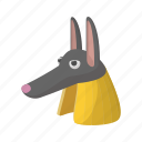 ancient, anubis, cartoon, egypt, egyptian, god, jackal icon