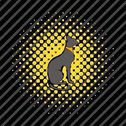 animal, cat, comics, egypt, grey, necklace, statue icon