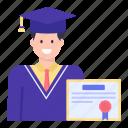 diploma, degree, certificate, graduation, scholar icon