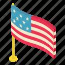 american, blue, flag, isometric, object, star, usa