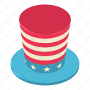 american, hat, isometric, object, patriotic, states, united