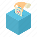 ballot, box, democracy, elect, isometric, object, vote