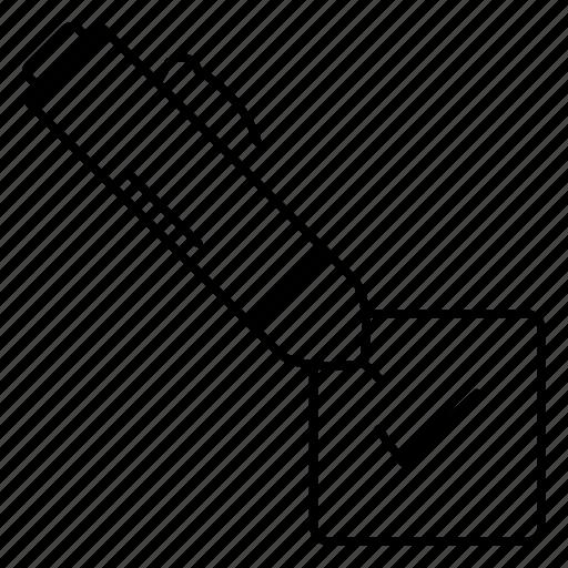 checkbox, mark, pen, pencil, tick icon