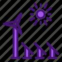 energy, panel, renewable, solar, sun, windmill icon