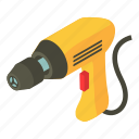 drill, electric, industrial, isometric, object, power, tool