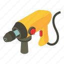 drill, electric, industrial, isometric, object, power, yellow