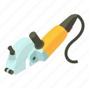 construction, device, electric, isometric, object, sander, yellow