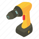 battery, electric, equipment, handle, isometric, object, screwdriver