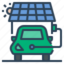 ev, charging, power, solar panel charge, solar photovoltaic cell, renewable energy, electric vehicle icon