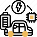 electric, circuit, microchip, automate, vehicle icon