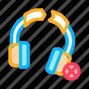earphones, headphone, headset, broken icon