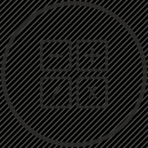 calc, calculator, circle, count, instrument, math icon