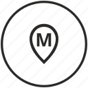 circle, letter, m, map, point icon