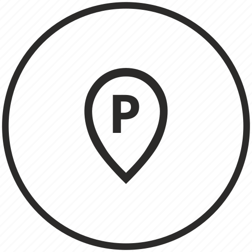 circle, letter, map, p, point icon