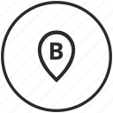 b, circle, letter, point, pointer icon
