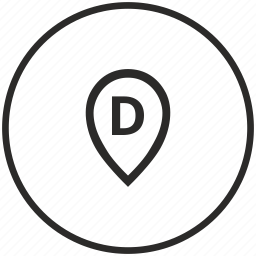 circle, d, letter, map, point icon