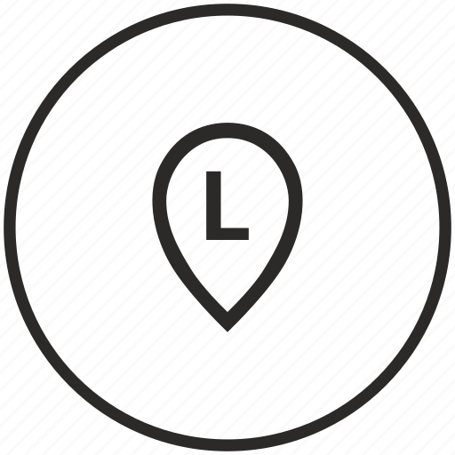 circle, l, letter, map, point icon