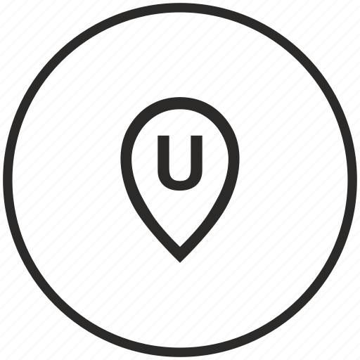 circle, letter, map, point, pointer, u icon