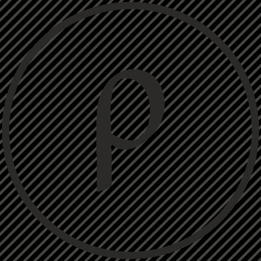 alphabet, greek, letter, rho icon