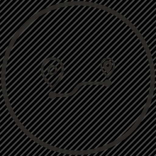 circle, pointer, road, transport, way icon